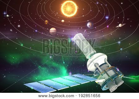 3d image of modern solar satellite against graphic image of solar system