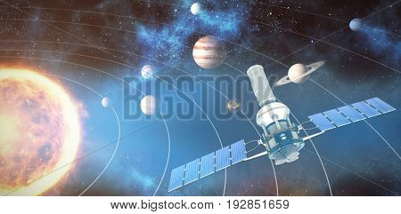 3d image of blue modern solar satellite against graphic image of various planets with sun