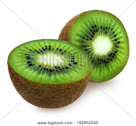 Two halves of green fuzzy kiwifruit isolated over white