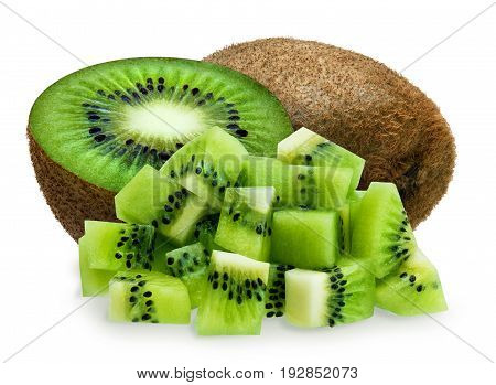 Whole green fuzzy kiwifruit, half and diced isolated over white