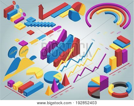 Collection of Isometric isolated information graphics set