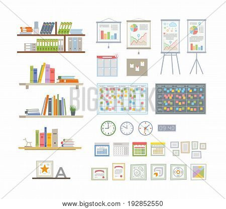 Office Essentials - modern color vector flat icons set. Different books, folders, infographic chart, calendar, organizer, digital and mechanical clock, sticky notes, certificate, star, award, frame,