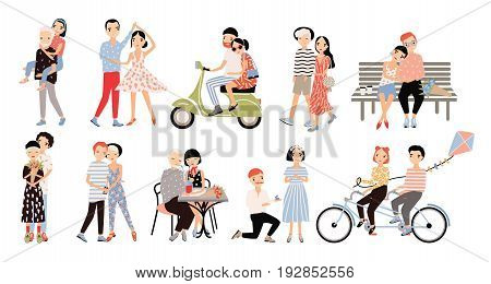 Set of couple in love. Different romantic situations walking, speaking, cycling, hugging, marriage proposal, dance, ride a moped. Colorful vector illustration in cartoon style