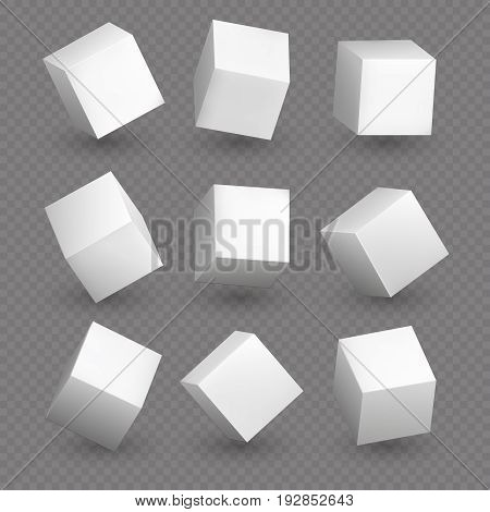 Cube 3d models in perspective. Realistic white blank cubes with shadows isolated. Model shape 3d structure box illustration