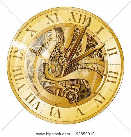 Realistic vintage watches with gears composition with mechanical clockwork mechanism visible under transparent watch face vector illustration