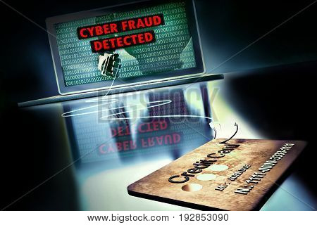 online cyber crime fraud concept - 3D rendering