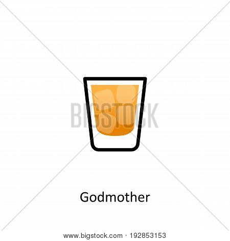 Godmother cocktail icon in flat style. Vector illustration