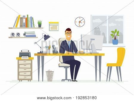 Office Man - vector flat illustration of an employer, colleague, employee. A male worker cartoon character, table, work station. Clock, calendar, note, cabinet, plant, , shelf, speaker, computer, phone