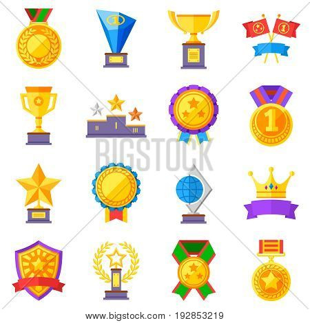 Flat rewards vector icons. Gold cups, medals and crowns pictograms. Medal and sport trophy, achievement competition illustration