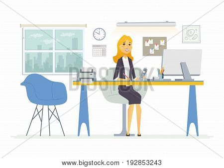 Office Woman- vector flat illustration of an employer, colleague, employee. A female worker cartoon character, desk, work station. Clock, notes, picture, chair, shelf, lights, computer, printer, window