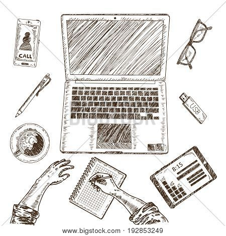 Business concept sketch set of isolated desktop elements gadgets notebook glasses drawn hands and coffee cup vector illustration