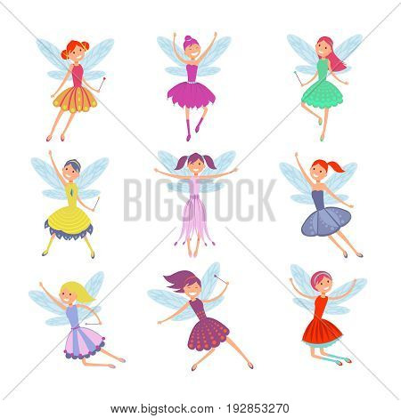 Cartoon flying fairies in colorful dresses vector set. Cute fairy elf with winds vector collection. Fantasy fairy girl with wings illustration