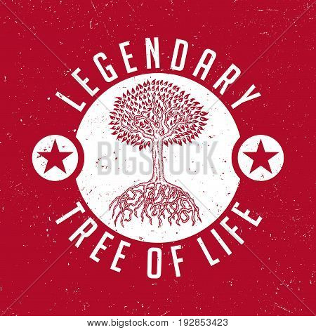 Colorful Nature Poster with information that tree is legendary one of life vector illustration