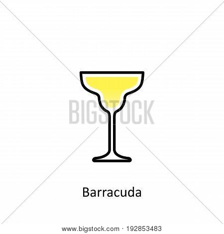 Barracuda cocktail icon in flat style. Vector illustration
