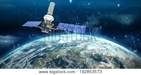 Vector image of 3d modern solar satellite against space view of planet earth