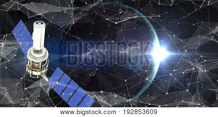Vector image of 3d modern solar satellite against satellite view of back lit earth
