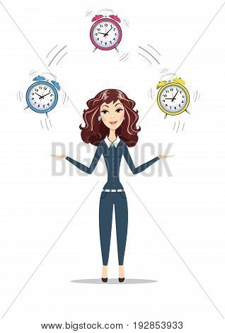 Businesswoman juggling with alarm clocks, symbolizing time management. Women in business holding Time. For use in presentations. Stock vector illustration