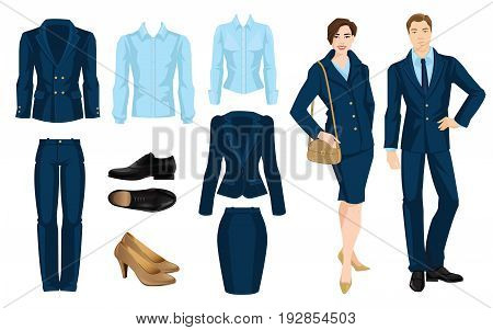 Vector illustration of corporate dress code. Office uniform. Clothes for business people. Secretary or professor in official blue formal suit. Pair of black formal shoes.