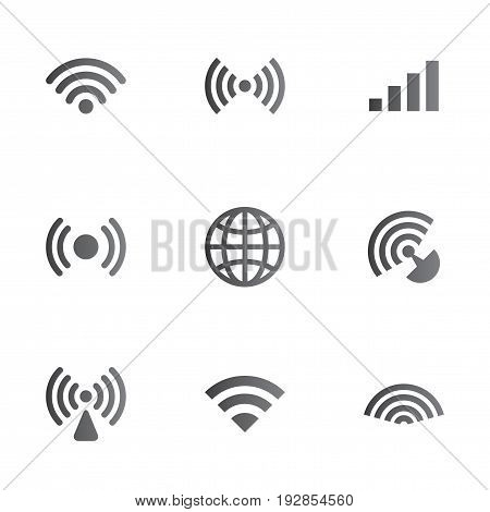 Wireless Network Symbol Object Set consisting of nine elements sign vector illustration