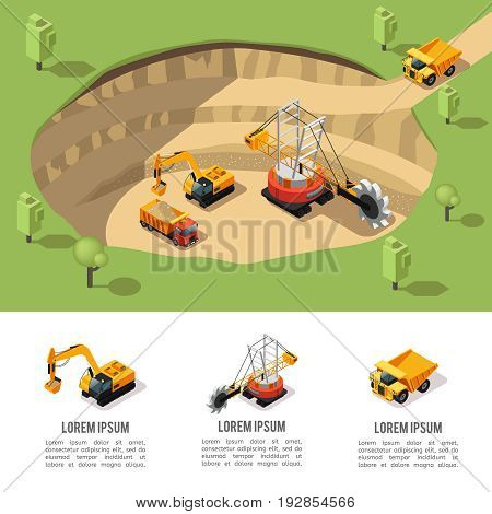 Colorful isometric coal extraction composition with quarry machine excavator heavy truck working in mining area isolated vector illustration