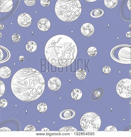 Black white pattern planets of the solar system. Design template of the cosmos. Stars of the planet cartoon. Vector illustration of a solar system.