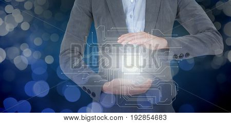 Businesswoman gesturing over white background against glowing background
