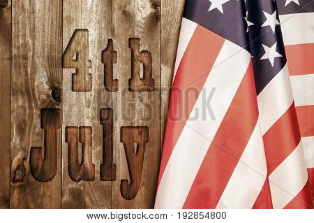 4th of July, the US Independence Day, place to advertise, wood background, American flag, United States of America