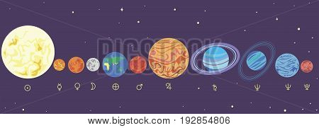 Collection funny cartoon bright planets. Planets solar system in order. Vector illustration planet isolated for children. Design planets.Sun. Earth. Mercury. Mars. Venus. Jupiter. Symbols planets