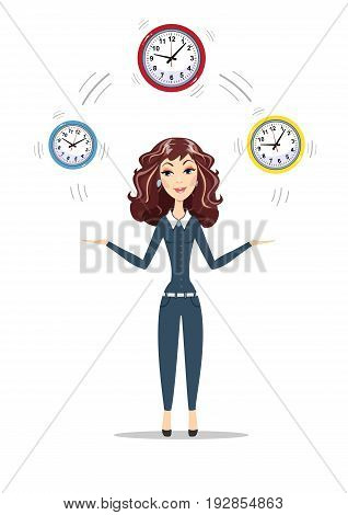 Abstract Businesswoman holding Time. Women in business. For use in presentations. Stock flat vector illustration