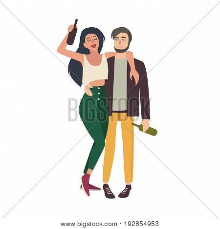 Drunk couple hugging. Young girl and guy tipsy with bottles. Colorful vector illustration in cartoon style