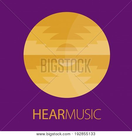 Hear Music Logo Poster with image of web sea and waves for advertising vector illustration