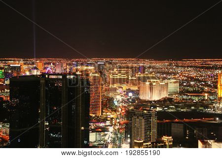 LAS VEGAS - APRIL 18, 2014: Aerial View of the Strip of Las Vegas by night, The Las Vegas Strip is an approximately 4.2-mile (6.8 km) stretch of Las Vegas Boulevard in Clark County, Nevada.