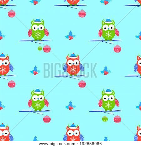 Cute owls christmas seamless vector pattern wrap, seamless, creative