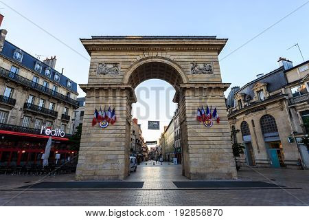 Dijon France - May 29 2017: The Guillaume gate on Darcy square in Dijon Burgundy France.