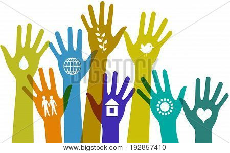 Collection of colorful hands with communication icons.
