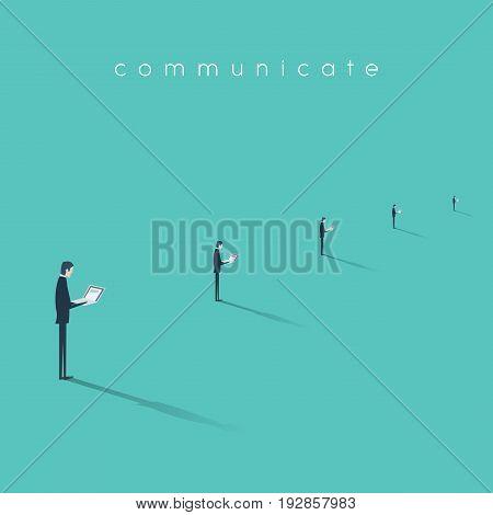 Businessman working on laptop vector illustration. Business symbol of modern digital communication. Menial, mundane job concept. Eps10 vector illustration.