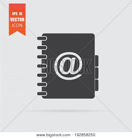 Address Book Icon In Flat Style Isolated On Grey Background.