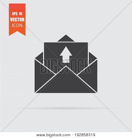 Outgoing Message Icon In Flat Style Isolated On Grey Background.