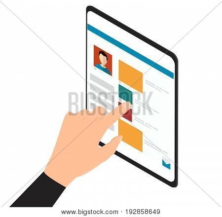 Man hand touching screen on modern digital web site. Social media concept -stock vector
