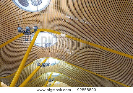 Madrid, Spain, february 2010: Ceiling structure Barajas International Airport Madrid Spain