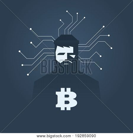 Computer hacker and ransomware vector concept. Criminal hacking, data theft and blackmailing symbol. Bitcoin digital currency sign. Eps10 vector illustration.