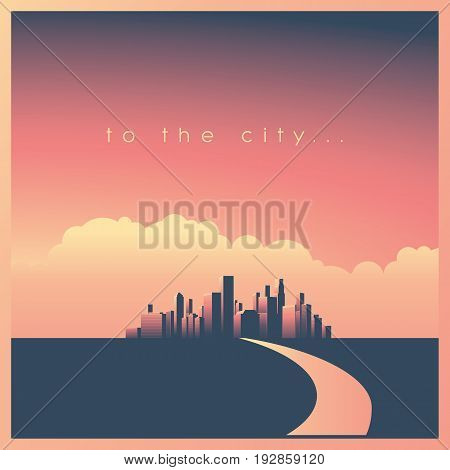 Modern corporate cityscape or skyline background with skyscrapers in sunset and road leading to rich, wealthy downtown district with many business opportunities. Eps10 vector illustration. poster