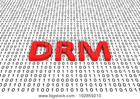 DRM in the form of binary code, 3D illustration