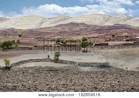 Panoramic scenic landscape at Maragua Crater. View of a village inside the crater of Maragua dormant volcano Bolivia