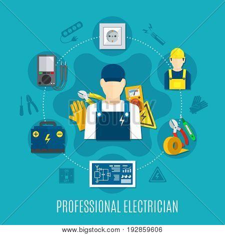 Electrician round composition with voltmeter and work tools, plug socket, electrical circuit on blue background vector illustration