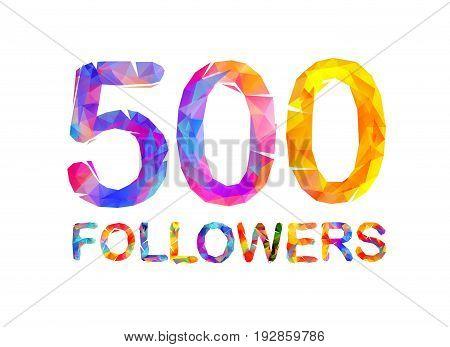 5000 (five Hundreds) Followers. Triangular Colorful Inscription