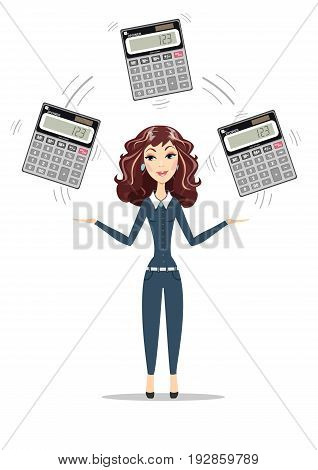 Abstract Businesswoman or manager holding calculator. Women in business. Profit, finances concept. For use in presentations. Stock flat vector illustration