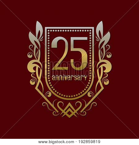 Twenty fifth anniversary vintage logo symbol. Golden emblem with numbers on shield in wreath.