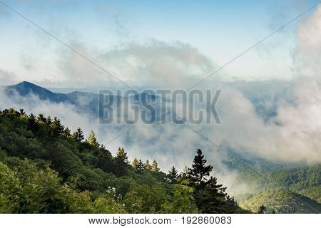 Great Smoky Mountains as seen from the Blue Ridge Parkway