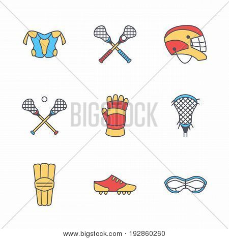 Lacrosse sport game vector line icons. Ball, stick, helmet, gloves, girls goggles. Linear colored signs set, championship pictograms with editable stroke for event, equipment store.